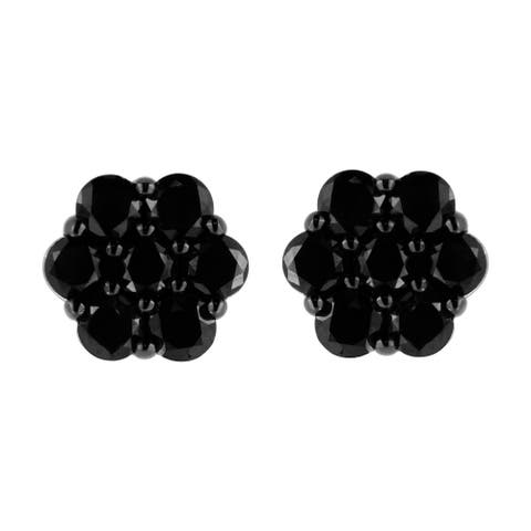 .925 Sterling Silver 1/2-4 Cttw Round-Cut Treated Diamond Floral Cluster Stud Earrings (I1-I2) - Black/Green/Yellow Diamonds
