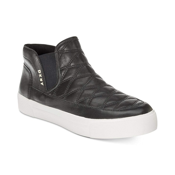 d5c6ffdf469 DKNY Womens Bessie Suede Faux Shearling Lined Fashion Sneakers - Black  Suede - 8