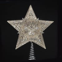 "13.5"" Elaborate Glittered and Jeweled Platinum Star Christmas Tree Topper - Unlit - Silver"