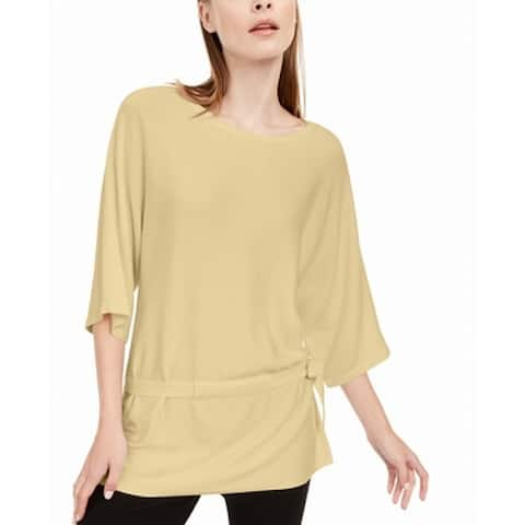 Alfani Womens Sweater Top Sundance Yellow Size XL 3/4-Sleeve Tie-Hem