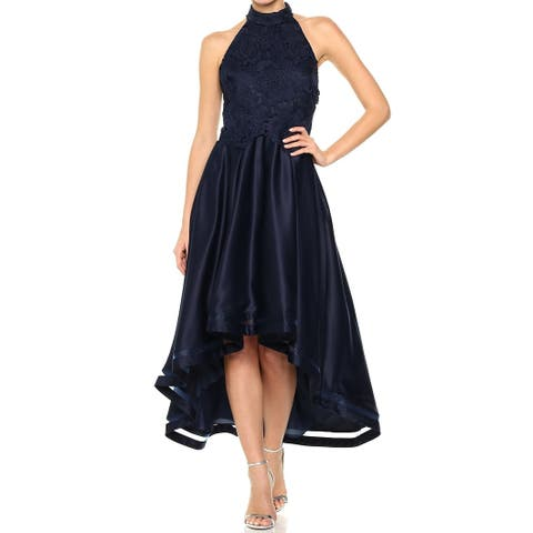 Nicole Miller Womens Gown Navy Blue Size 12 Halter Embroidered Hi-Lo