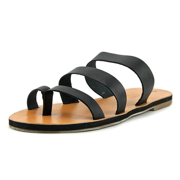 BC Footwear Peanut Women  Open Toe Leather Black Slides Sandal