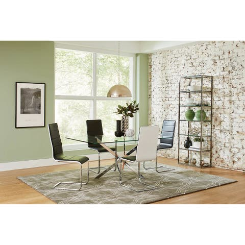 Andover Black and Clear 5-piece Rectangle Dining Set