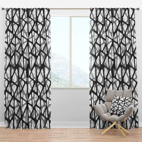 Designart 'Black and Grey Triangular 3D Texture of Mesh' Modern Blackout Curtain Panel