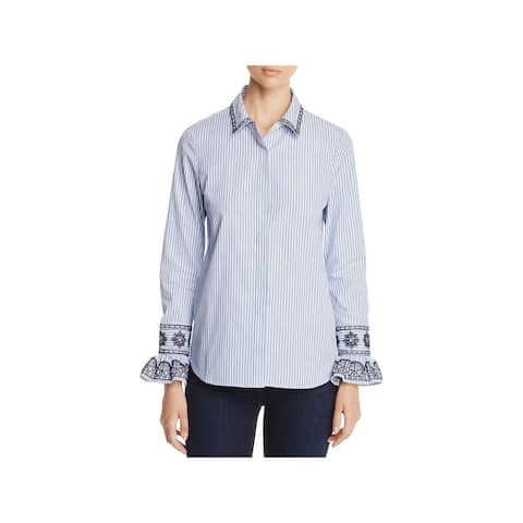 Tory Burch Womens Paige Button-Down Top Striped Embroidered - Ombre Striped Shirting - 4