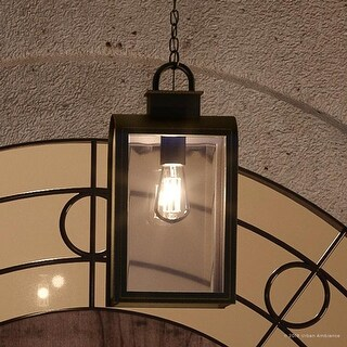 "Luxury Art Deco Outdoor Pendant Light, 16""H x 8""W, with Farmhouse Style Elements, Oil Rubbed Bronze Finish by Urban Ambiance"