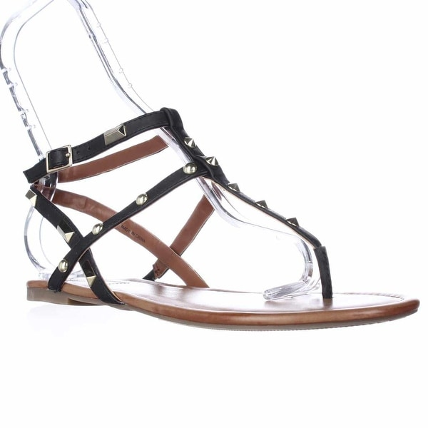 I35 Mirabai2 Flat Ankle Strap Studded Sandals, Black