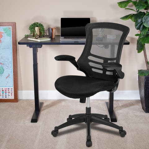 Electric Height Adjustable Stand Up Desk with Mesh Executive Chair