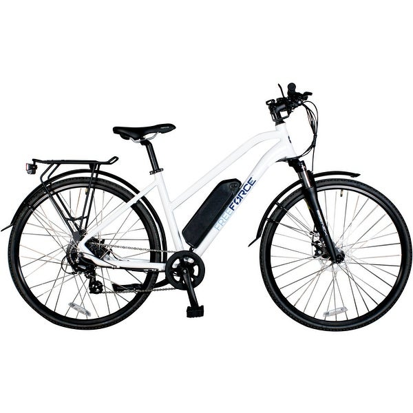 FreeForce The Indy 18-in. Electric Commuter Bike with Thumb Throttle and Pedal Assist in White - 18-inch. Opens flyout.