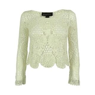 INC International Concepts Women's Long Sleeve Crochet Top - petite