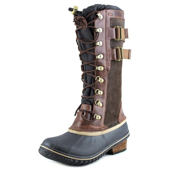 Sorel Conquest Carly II Women Round Toe Leather Brown Knee High Boot