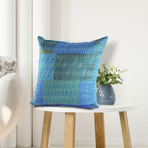 LR Home Color Block Blue Kantha Throw Pillow
