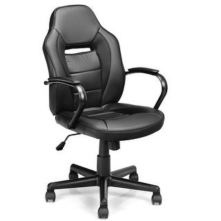 Gymax Gaming Chair Mid-Back Office Chair Racing Chair Swivel Desk Task Computer Home