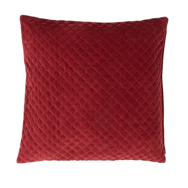 "22"" Solid Paprika Red Quilted Decorative Throw Pillow"