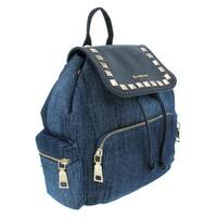 Bebe Womens Donna Backpack Denim Faux Leather Trim - O/S