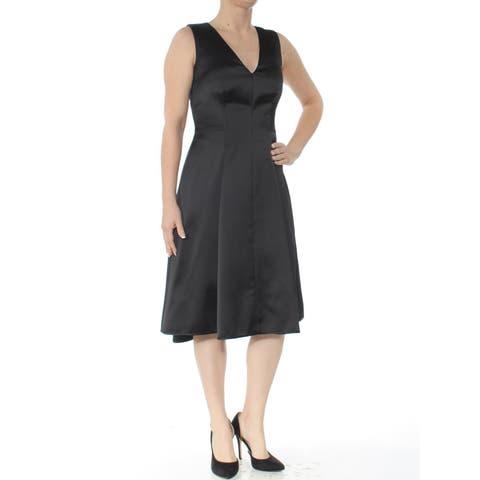 ANNE KLEIN Womens Black Sleeveless V Neck Knee Length Fit + Flare Wear To Work Dress Size: 0
