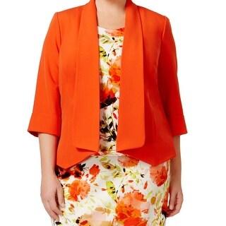 Kasper NEW Orange Valencia Womens Size 22W Plus Open Front Crepe Jacket