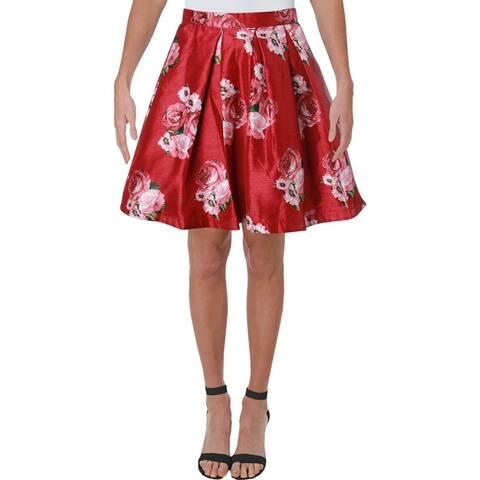 Sequin Hearts Womens Juniors A-Line Skirt Floral Mini - Wine Blush