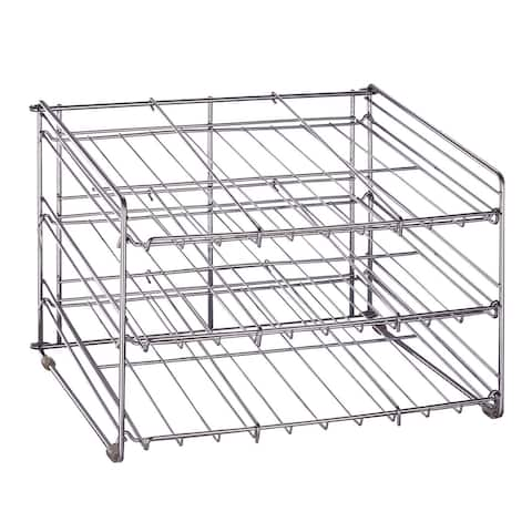 "Organize It All 1866 18"" Wide Three Tier Kitchen Wire Shelving Rack for Canned Goods - - Chrome"
