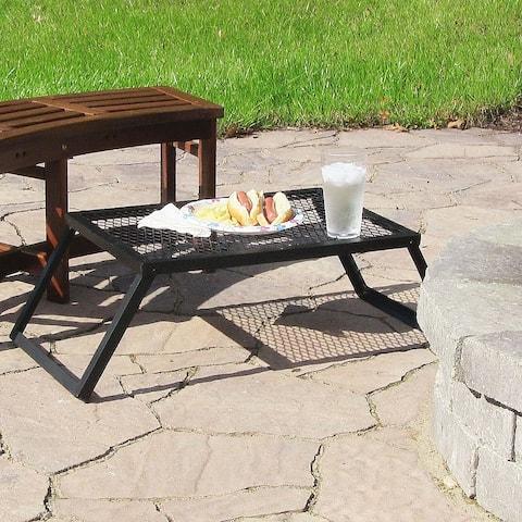 Sunnydaze Portable Heavy-Duty Outdoor Campfire Cooking Grill - 24-Inch - Black