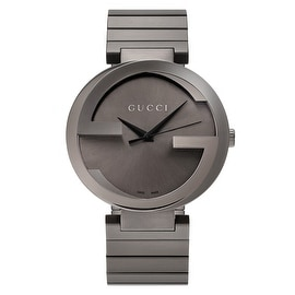 Gucci Men's YA133210 'Interlocking-G' Anthracite Dial Stainless Steel Bracelet Watch