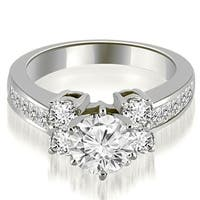 1.50 cttw. 14K White Gold Channel Round Cut Diamond Engagement Ring