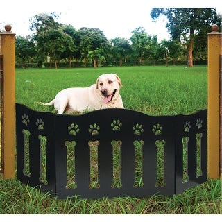 "Wooden Paws and Bones Pet Dog Gate - Free Standing Tri-Fold - 19"" Tall 47"" Wide"