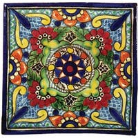 "Native Trails TVR0331 Talavera Tile 6"" W x 6"" H Hand Painted Geraniums Tile - N/A"