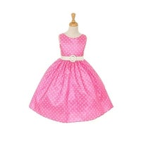 bafd6328391 Cinderella Couture Girls Pink White Polka Dot Belted Occasion Dress 8-12