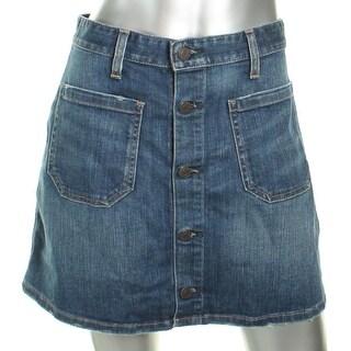 Denim & Supply Ralph Lauren Womens Denim Skirt Distressed Mini