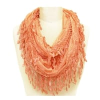 Delicate Lace Sheer Infinity Scarf With Teardrop Fringes