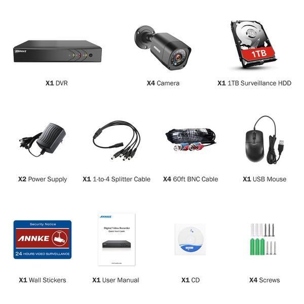 ANNKE 4CH 720P HD Camera Surveillance System 1080N DVR