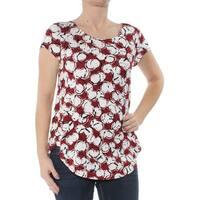 ALFANI Womens Red Printed Short Sleeve Jewel Neck T-Shirt Top  Size: S
