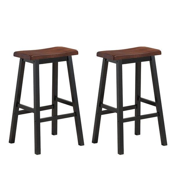 "Shop Costway Set Of 2 Bar Stools 29""H Saddle Seat Pub"