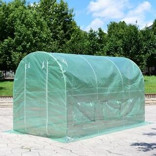 Costway 11.5'X 6.5'X6.5 Walk-in Greenhouse Steel Frame Backyard Grow Tents 6 Windows - Green