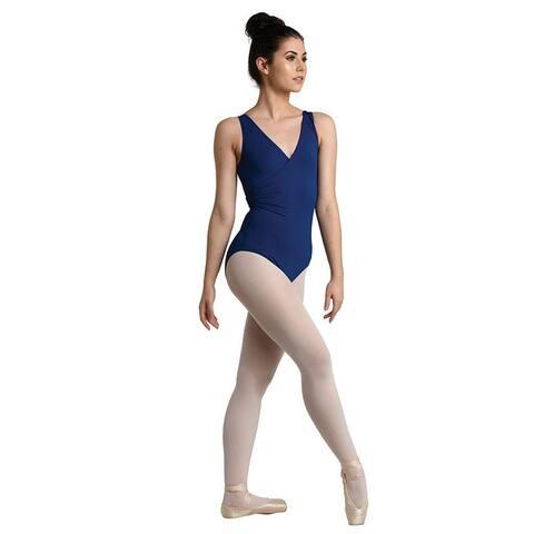 Danshuz Women's Navy Lace Back Classic Surplice Wrap Dance Leotard - Womens L