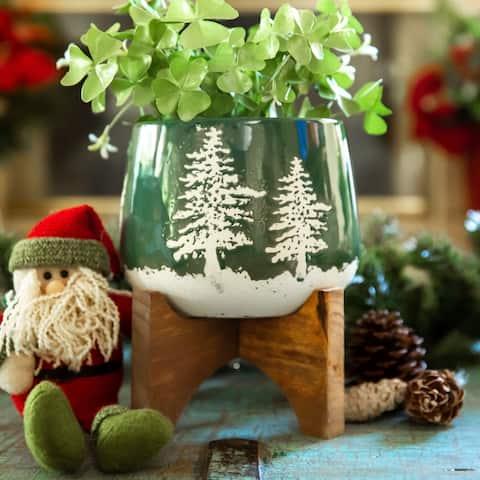 "6.75"" Ceramic Christmas Planter on wood Stand"