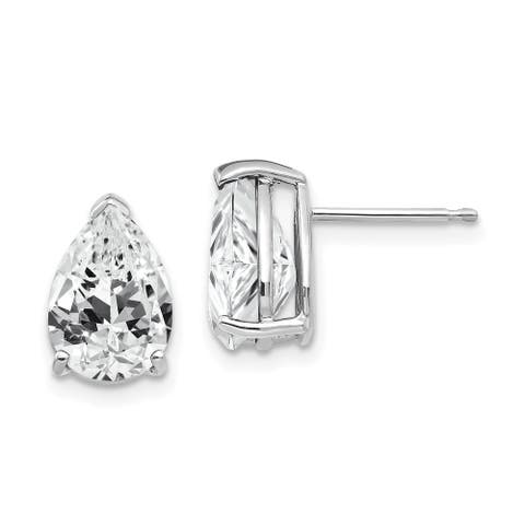 14K White Gold Rhodium-plated Cubic Zirconia Pear Stud Earrings By Versil