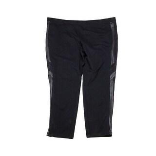 Style Co Plus Size Black Faux-Leather Inset Leggings 24W