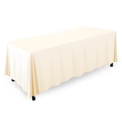 """20-Count 90"""" x 132"""" Premium Rectangular Tablecloth - Ivory by Mill &"""