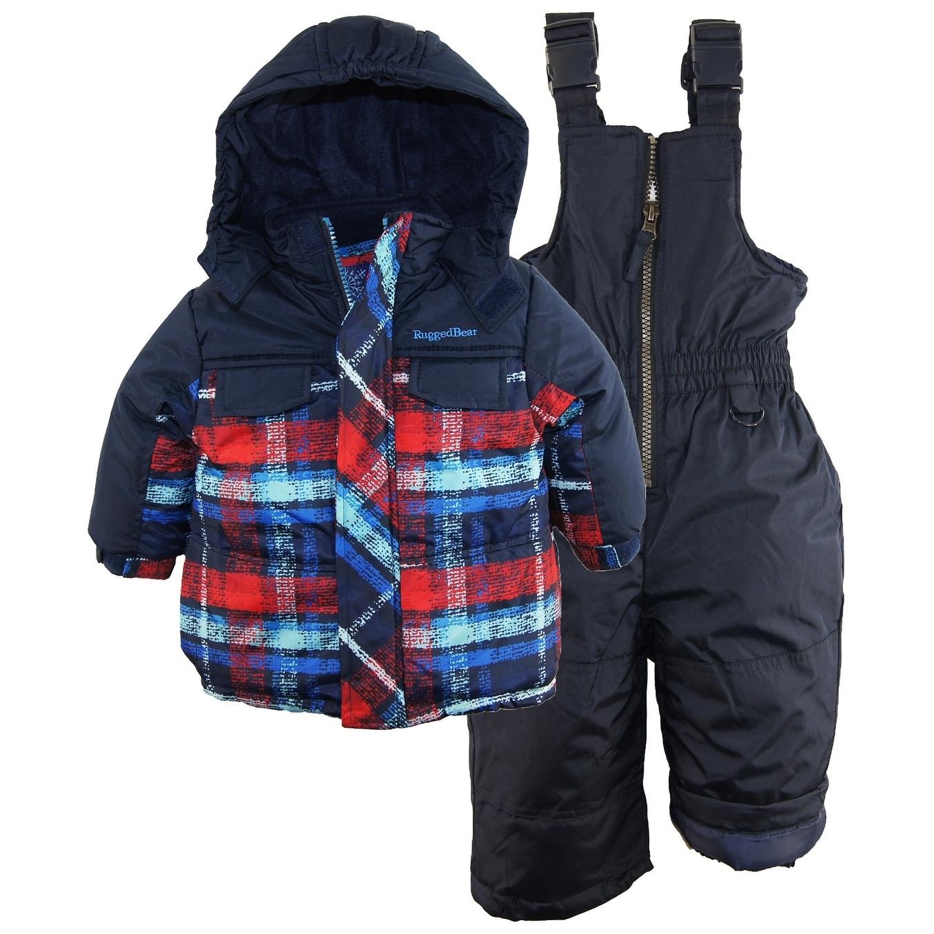 Rugged Bear Baby Boys Plaid Snowboard Expedition 2pc Snowsuit Ski Bib Pant Set