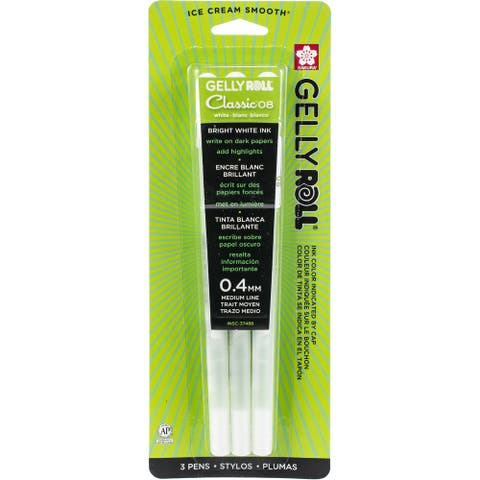 Sakura Gelly Roll Medium Point Pens 12/Pkg-White - White