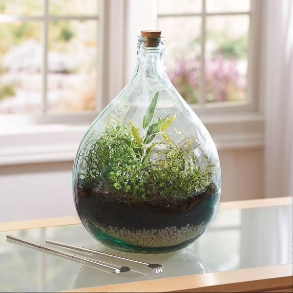 "One 12/"" Tall 8 Sided Glass Bottle w//Cork in Green w//Beautiful Raised Design"