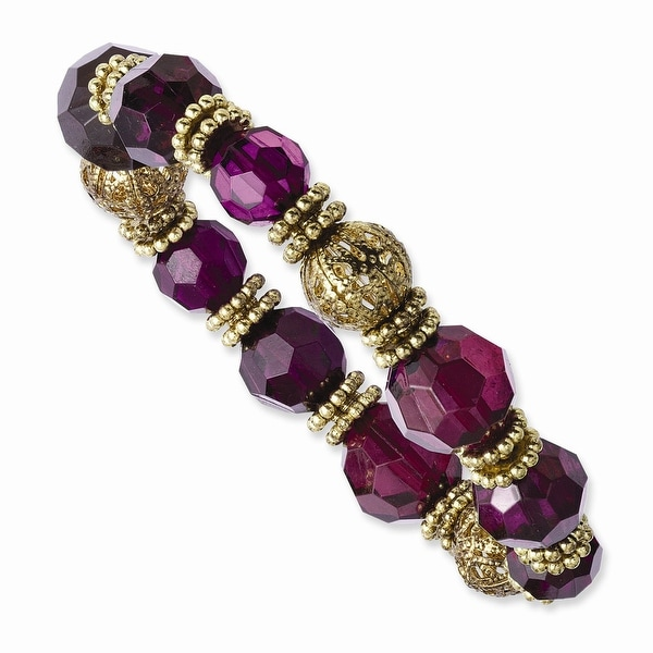 Goldtone Purple Crystal Stretch Bracelet