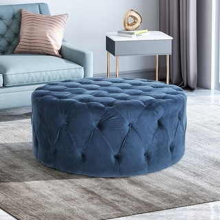 Link to Orla Modern Glam Round Tufted Velvet Ottoman by Christopher Knight Home Similar Items in Ottomans & Storage Ottomans
