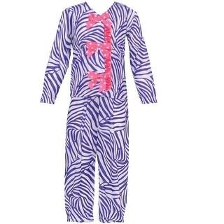 Laura Dare Little Girls White Purple Zebra Stripe Bow 2 Pc Pajama Set 4