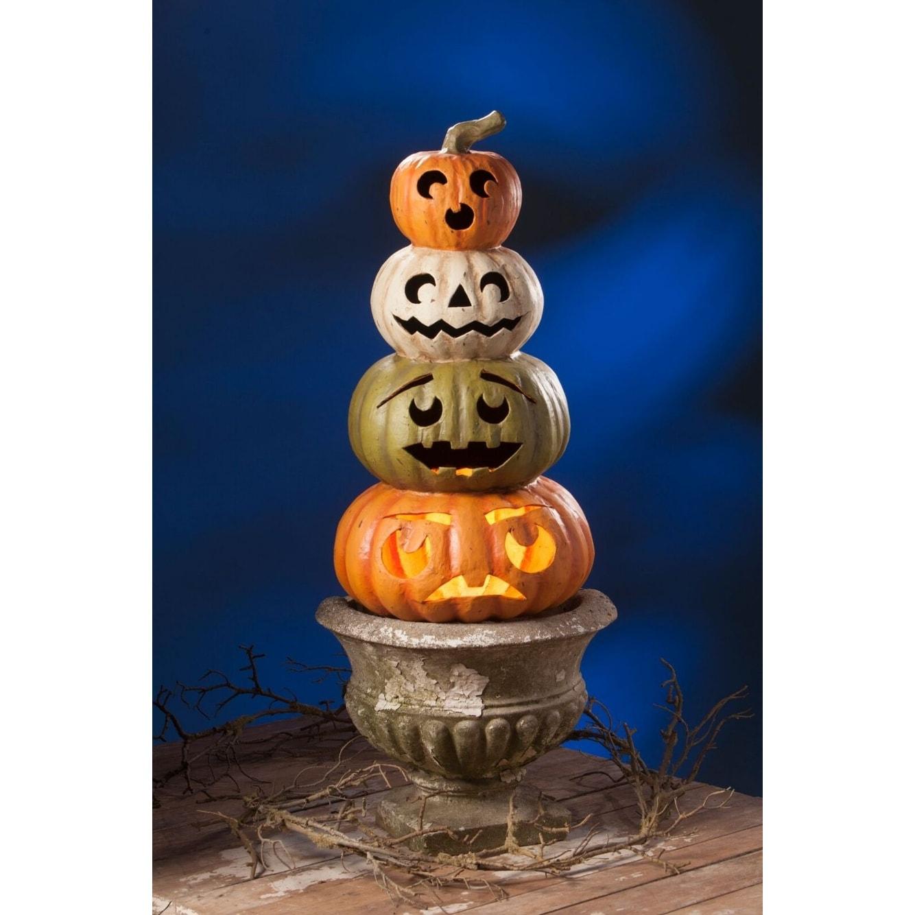 24 Orange And Olive Green Jack O Lantern Topiary Halloween Figurine Overstock 29858128