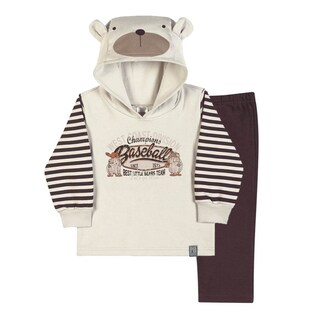 Baby Boy Outfit Bear Hoodie Sweater Jacket and Pants Set Pulla Bulla 3-12 Months (2 options available)