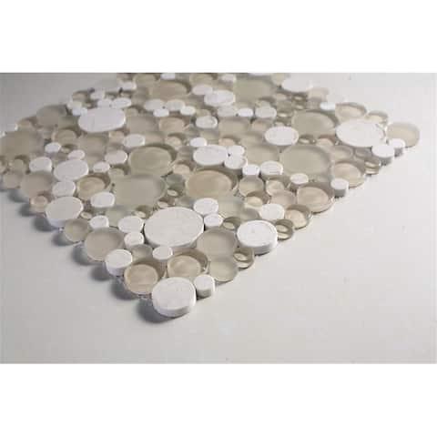 TileGen. Circle Glass Mix Stone Mosaic Tile in Beige Wall Tile (10 sheets/9sqft.)