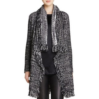 Vince Womens Cardigan Sweater Wool Leather Trim